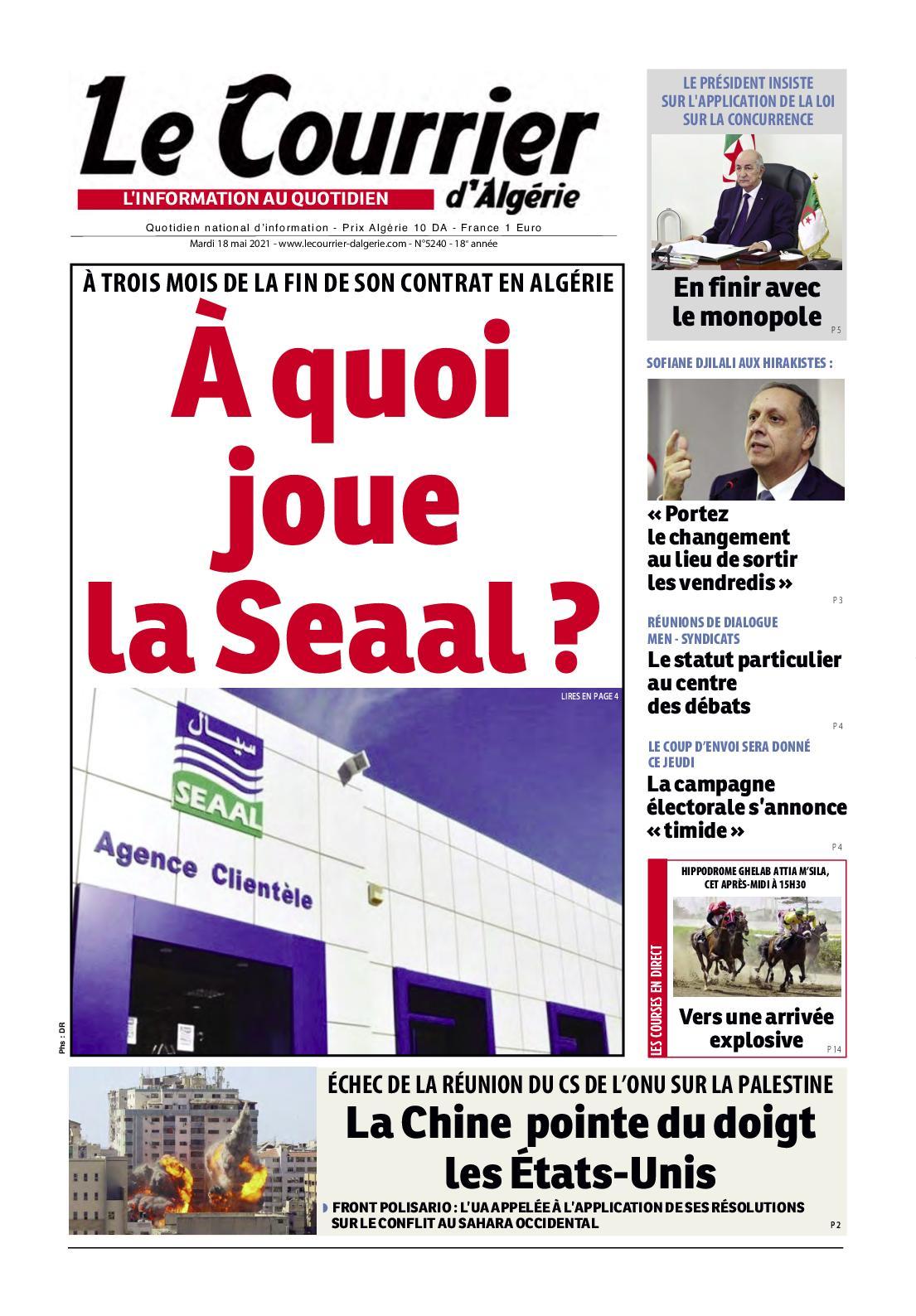 Le Courrier d'Algérie du mardi 18 mai 2021