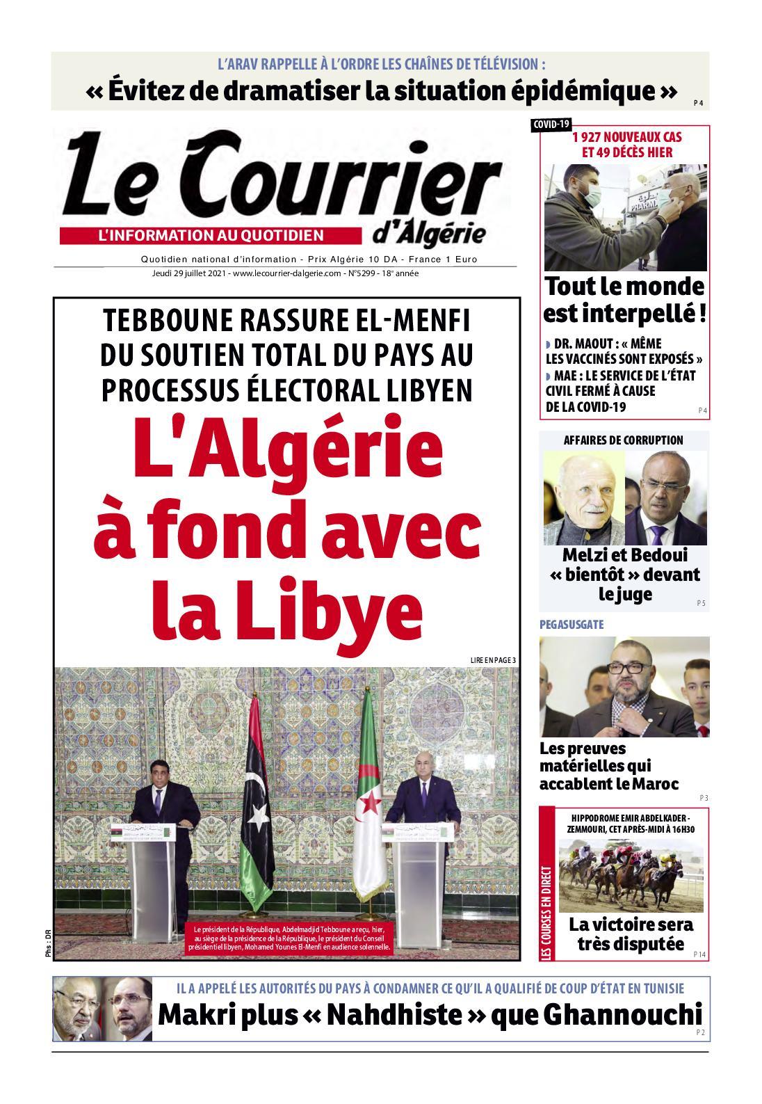 Le Courrier d'Algérie du jeudi 29 juillet 2021