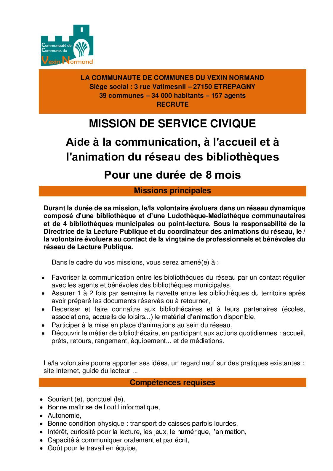 Annonce Service Civique Lecture Publique
