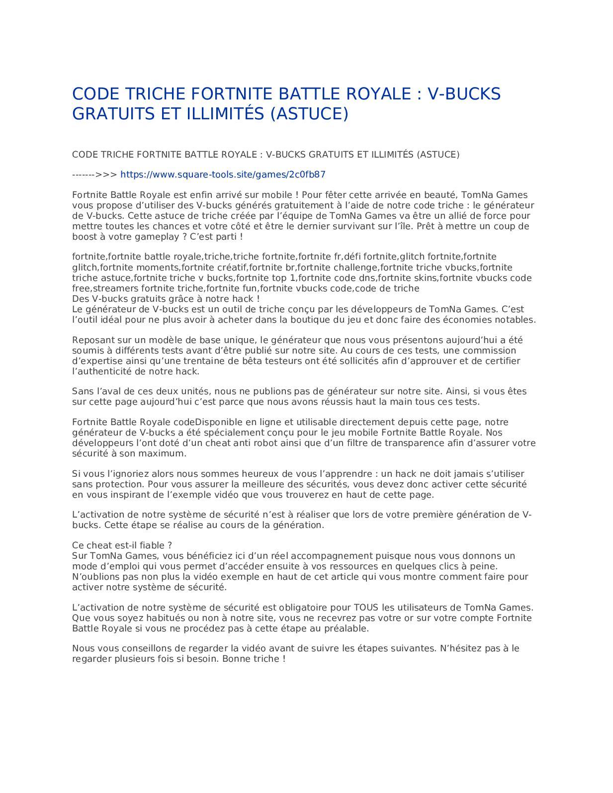 Calaméo - CODE TRICHE FORTNITE BATTLE ROYALE V BUCKS GRATUITS ET ILLIMITÉS ASTUCE