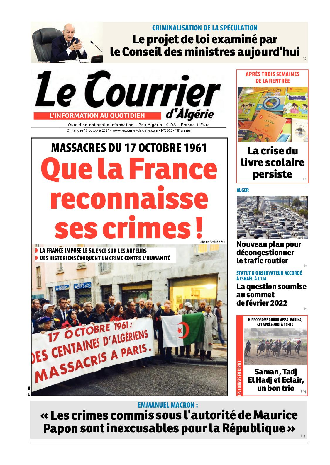 Le Courrier d'Algérie du dimanche 17 octobre 2021
